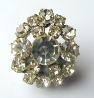 Vintage Clear Rhinestone Curved Brooch.